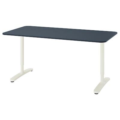 BEKANT บีแคนท์ โต๊ะทำงาน, กระเบื้องยาง น้ำเงิน/ขาว, 160x80 ซม.