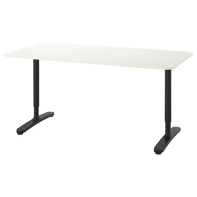 BEKANT บีแคนท์ โต๊ะทำงาน, ขาว/ดำ, 160x80 ซม.