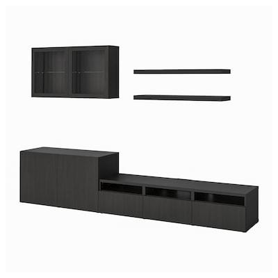 BESTÅ เบสตัว / LACK ลัค ชุดตู้ทีวี, น้ำตาลดำ, 300x42x195 ซม.