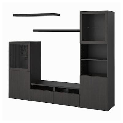 BESTÅ เบสตัว / LACK ลัค ชุดตู้ทีวี, น้ำตาลดำ, 240x42x193 ซม.