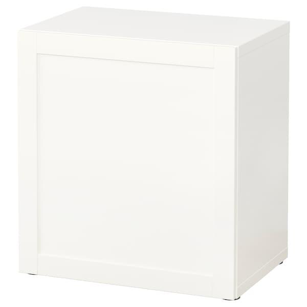 BESTÅ เบสตัว ตู้เก็บของบานปิด, ขาว/ฮันวีคเกน ขาว, 60x42x64 ซม.