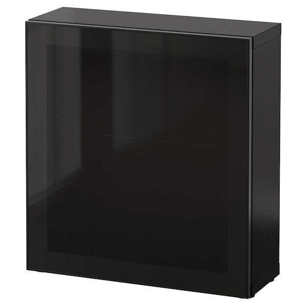 เบสตัว ตู้ชั้นวางบานกระจก น้ำตาลดำ/กราสวีค ดำ/กระจกรมดำ 60 ซม. 20 ซม. 64 ซม.
