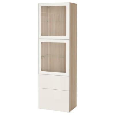 BESTÅ เบสตัว ตู้เก็บของบานกระจก, สีไวท์โอ๊ค/เซลชวีคเกน ไฮกลอสขาว กระจก, 60x42x193 ซม.