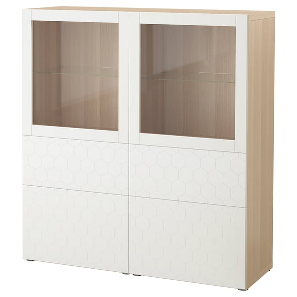 เบสตัว ตู้เก็บของบานกระจก, สีไวท์โอ๊ค/วัสส์วีคเกน ขาว กระจก, 120x40x128 ซม.