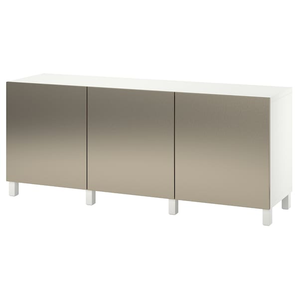 BESTÅ เบสตัว ตู้เก็บของพร้อมบานตู้, ขาว/ริคส์วีคเกน ไลท์บรอนซ์, 180x42x74 ซม.