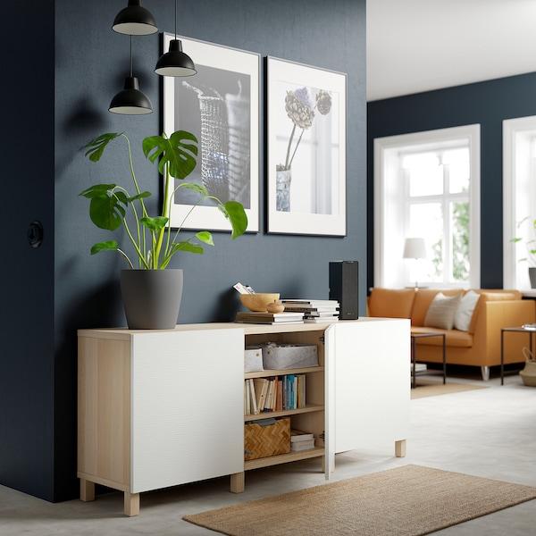 BESTÅ เบสตัว ตู้เก็บของพร้อมบานตู้, สีไวท์โอ๊ค ขาว, 180x42x74 ซม.