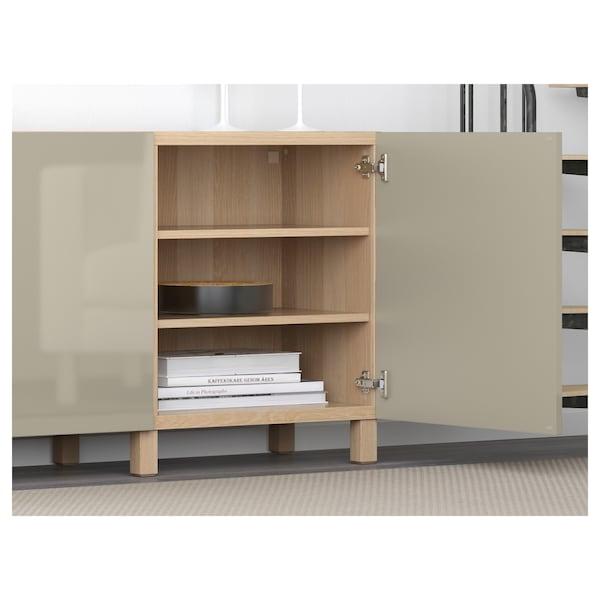 BESTÅ เบสตัว ตู้เก็บของพร้อมบานตู้, สีไวท์โอ๊ค ไฮกลอส/เบจ, 180x42x74 ซม.
