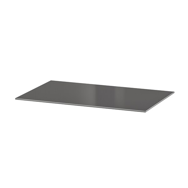 BESTÅ เบสตัว แผ่นท็อป, แก้ว เทาเข้ม, 60x40 ซม.