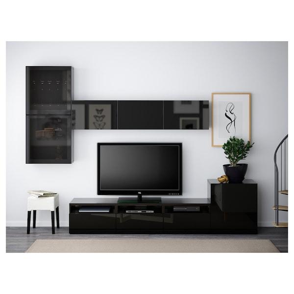 BESTÅ เบสตัว ชุดตู้ทีวีบานกระจก, น้ำตาลดำ/เซลชวีคเกน ไฮกลอสดำ/กระจกรมดำ, 300x20/40x211 ซม.