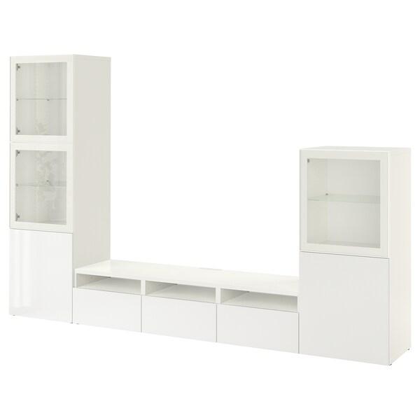 เบสตัว ชุดตู้ทีวีบานกระจก, ขาว/เซลชวีคเกน ไฮกลอสขาว กระจก, 300x42x193 ซม.