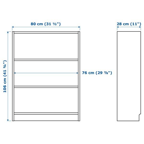 BILLY บิลลี่ / OXBERG อ็อกเบรย์ ตู้หนังสือบานปิด, ขาว, 80x30x106 ซม.