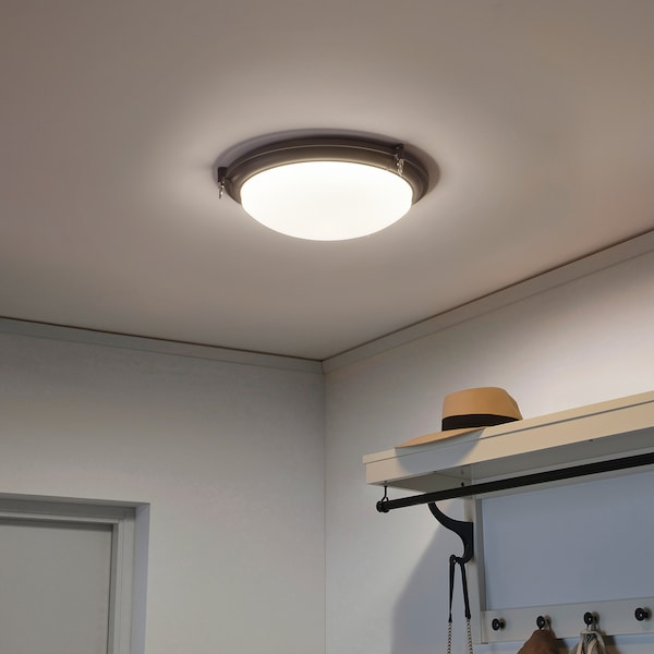 BOGSPRÖT บูกสปรอท โคมไฟเพดาน LED, สีแอนทราไซต์, 36 ซม.