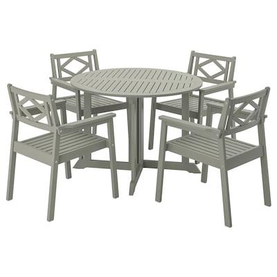 BONDHOLMEN บอนด์โฮลเมน โต๊ะ+เก้าอี้วางแขน4ตัว กลางแจ้ง, ย้อมสีเทา