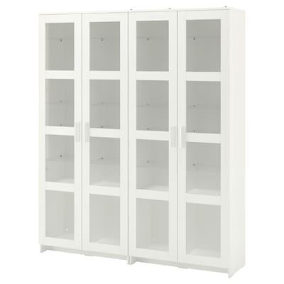 BRIMNES บริมเนส ตู้เก็บของบานกระจก, ขาว, 160x35x190 ซม.