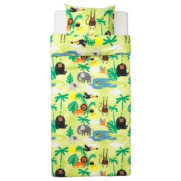DJUNGELSKOG ยุงเงลสกูก ปลอกผ้านวมและปลอกหมอน, รูปสัตว์/เขียว, 150x200/50x80 ซม.