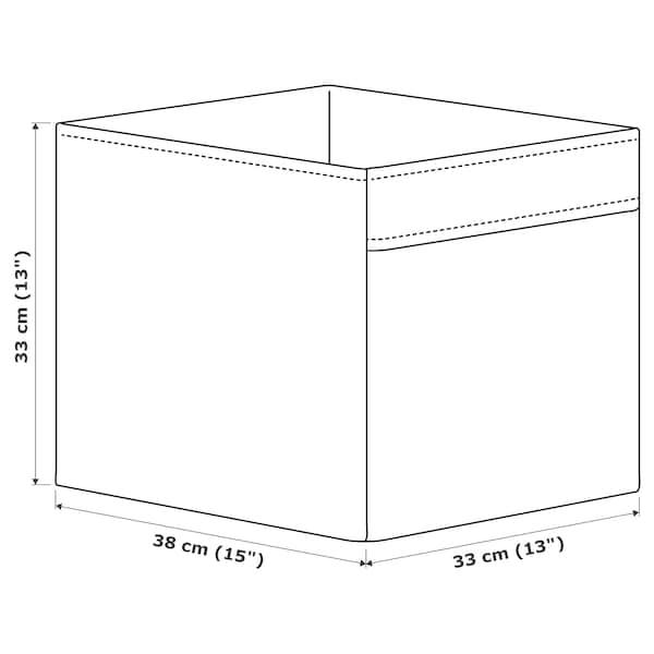 DRÖNA เดรินน่า กล่องผ้า, เบจ/ลายจุด, 33x38x33 ซม.