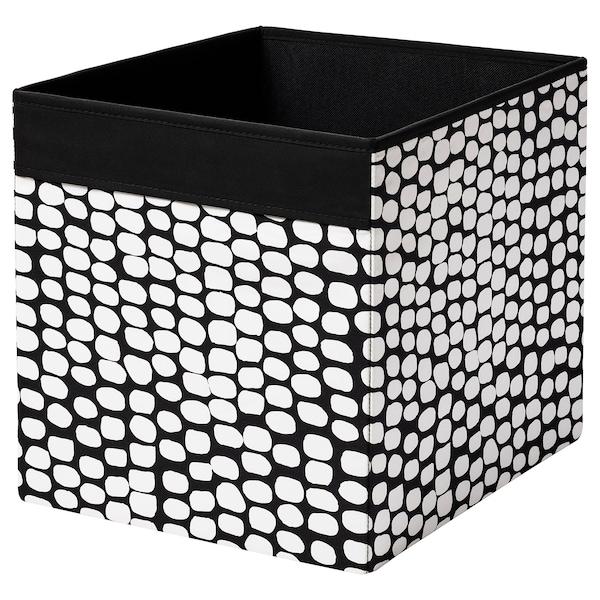 DRÖNA เดรินน่า กล่องผ้า, ดำ/ขาว, 33x38x33 ซม.