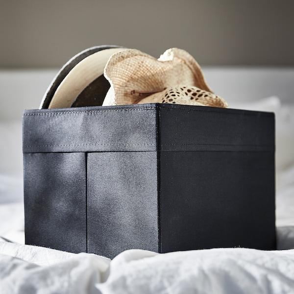 DRÖNA เดรินน่า กล่องผ้า, ดำ, 25x35x25 ซม.