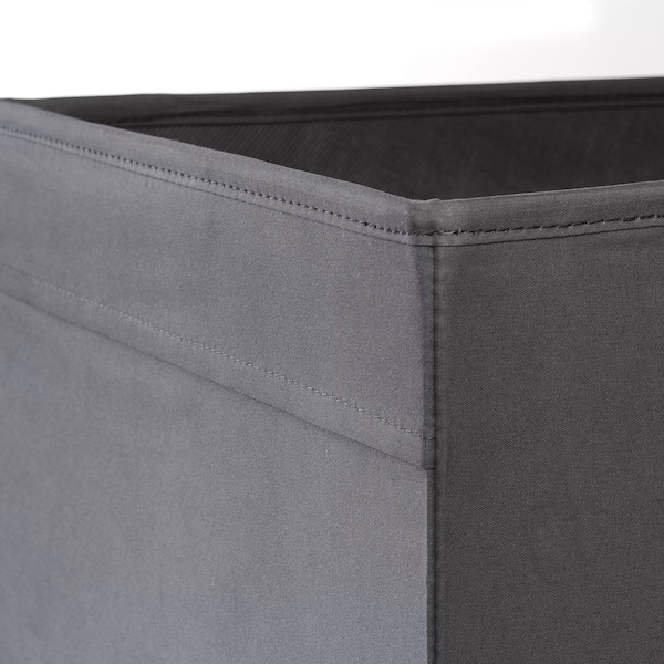 DRÖNA เดรินน่า กล่องผ้า, เทาเข้ม, 33x38x33 ซม.