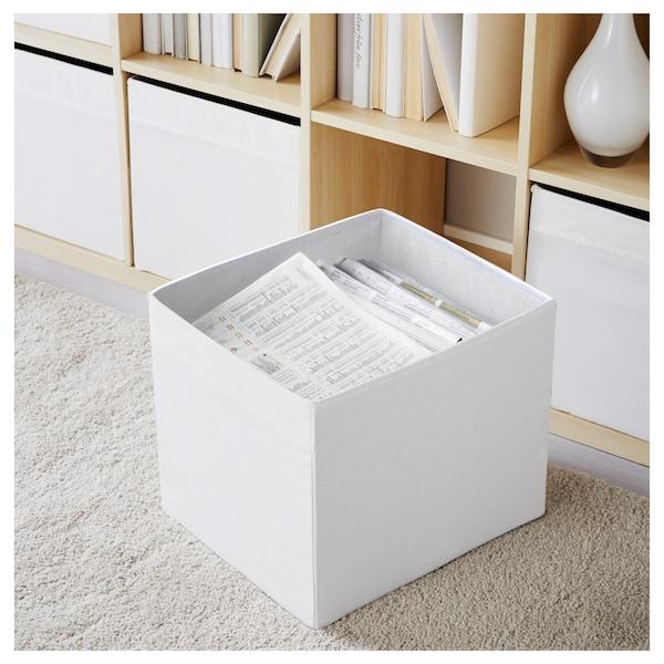 DRÖNA เดรินน่า กล่องผ้า, ขาว, 33x38x33 ซม.