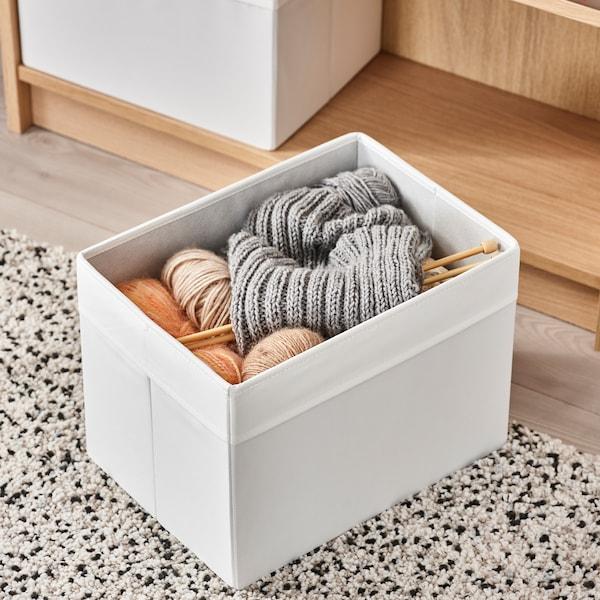 DRÖNA เดรินน่า กล่องผ้า, ขาว, 25x35x25 ซม.
