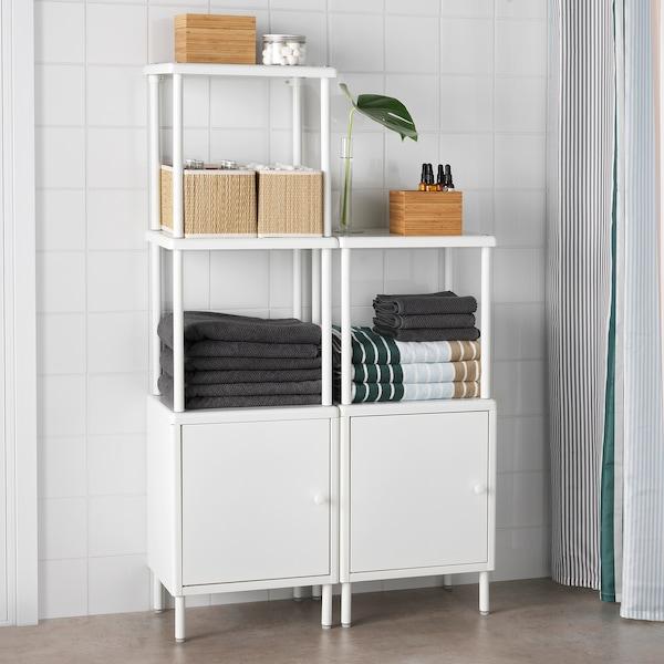 DYNAN ดือนัน ชั้นวางของพร้อมตู้2ใบ, ขาว, 80x27x94-134 ซม.
