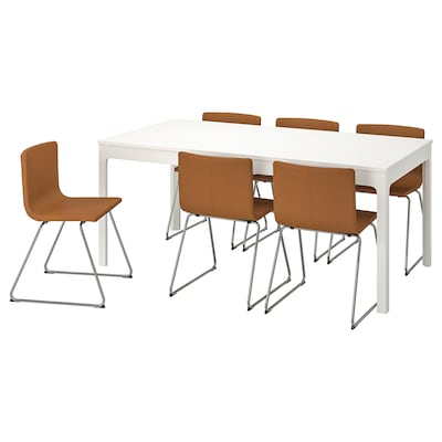EKEDALEN เอียเคดาเลน / BERNHARD แบร์นฮอร์ด โต๊ะและเก้าอี้ 6 ตัว, ขาว/มยูค น้ำตาลทอง, 180/240 ซม.