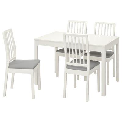 EKEDALEN เอียเคดาเลน โต๊ะและเก้าอี้ 4 ตัว, ขาว/อุชต้า เทาอ่อน, 120/180 ซม.
