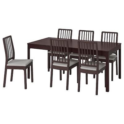 EKEDALEN เอียเคดาเลน / EKEDALEN เอียเคดาเลน โต๊ะและเก้าอี้ 6 ตัว, น้ำตาลเข้ม/อุชต้า เทาอ่อน, 180/240 ซม.