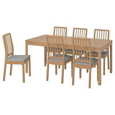 EKEDALEN เอียเคดาเลน / EKEDALEN เอียเคดาเลน โต๊ะและเก้าอี้ 6 ตัว, ไม้โอ๊ค/อุชต้า เทาอ่อน, 180/240 ซม.