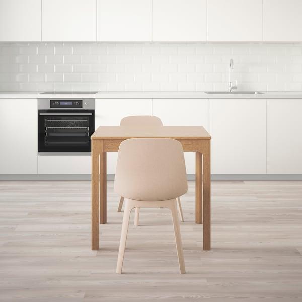 EKEDALEN เอียเคดาเลน / ODGER อูดเยียร์ ชุดโต๊ะและเก้าอี้ 2 ตัว, ไม้โอ๊ค/ขาว เบจ, 80/120 ซม.