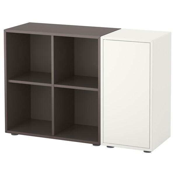 EKET เอียคเกท ตู้หนังสือพร้อมปุ่มรองตู้, ขาว/เทาเข้ม, 105x35x72 ซม.