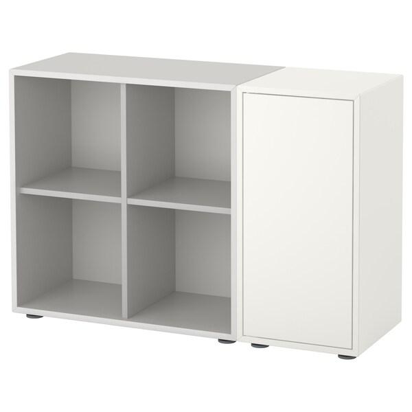 EKET เอียคเกท ตู้หนังสือพร้อมปุ่มรองตู้, ขาว/เทาอ่อน, 105x35x72 ซม.