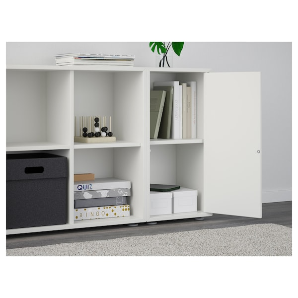 EKET เอียคเกท ตู้หนังสือพร้อมปุ่มรองตู้, ขาว, 105x35x72 ซม.