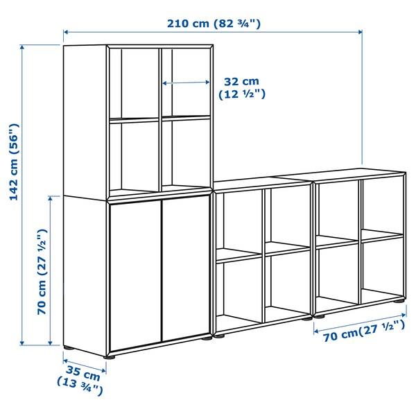EKET เอียคเกท ตู้หนังสือพร้อมปุ่มรองตู้, ขาว, 210x35x142 ซม.