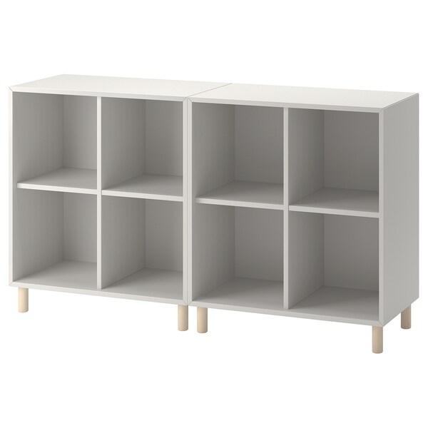 EKET เอียคเกท ชุดตู้พร้อมขาตู้, เทาอ่อน/ไม้, 140x35x80 ซม.