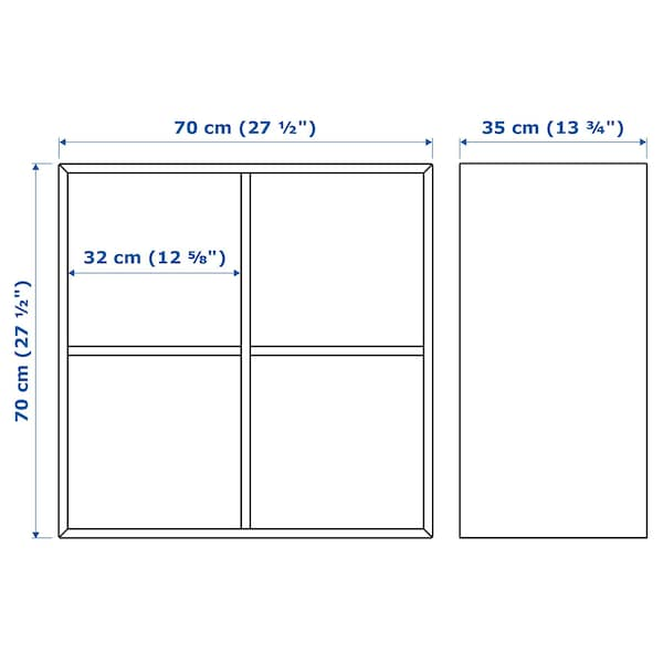 EKET เอียคเกท ตู้แขวนผนัง 4 ช่อง, เทาอ่อน, 70x35x70 ซม.