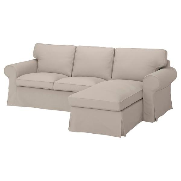 EKTORP เอียคทอร์ป ผ้าหุ้มโซฟา3ที่นั่ง, +เก้าอี้นวมตัวยาว/ทูเทบู ไลท์เบจ