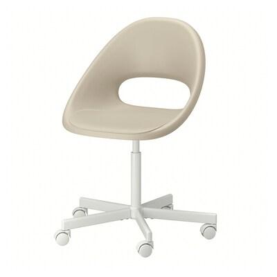 ELDBERGET เอลด์เบเรียต / BLYSKÄR บลือแควร์ เก้าอี้หมุน, เบจ/ขาว