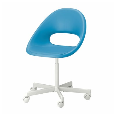 ELDBERGET เอลด์เบเรียต / BLYSKÄR บลือแควร์ เก้าอี้หมุน, น้ำเงิน/ขาว