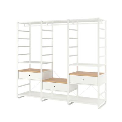 ELVARLI เอลวาร์ลี ชุดตู้เสื้อผ้า, ขาว/ไม้ไผ่, 245x55x216 ซม.