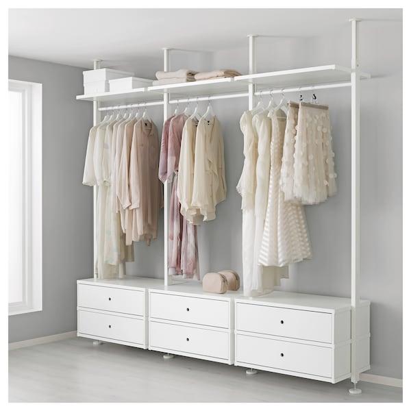 ELVARLI เอลวาร์ลี ชุดตู้เสื้อผ้า, ขาว, 258x51x222-350 ซม.