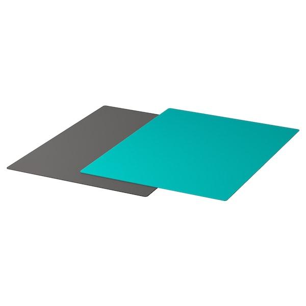 FINFÖRDELA ฟินเฟอร์เดียล่า เขียงพลาสติกงอได้, เทาเข้ม/เทอร์ควอยซ์เข้ม, 28x36 ซม.