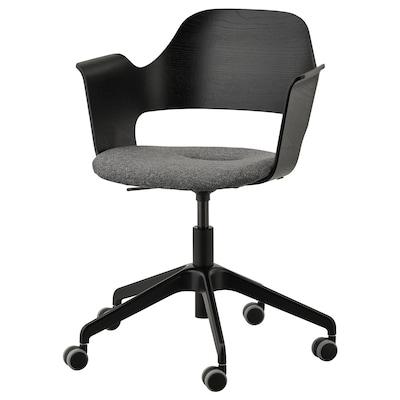 FJÄLLBERGET ฟแยลเบเรียต เก้าอี้ประชุมมีล้อเลื่อน, วีเนียร์แอชย้อมสีดำ/กุนนาเรียด เทาเข้ม