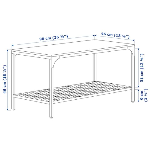 FJÄLLBO ฟแยลบู โต๊ะกลาง, ดำ, 90x46 ซม.
