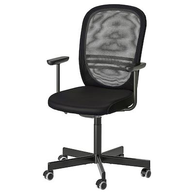 FLINTAN ฟลินตัน เก้าอี้สำนักงานมีที่วางแขน, ดำ