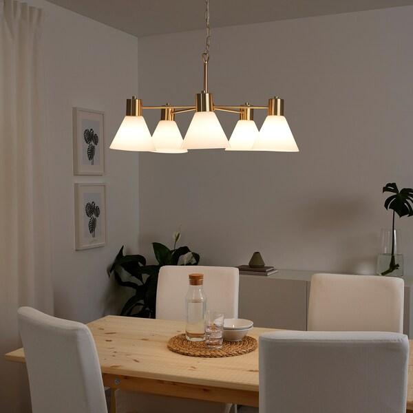 ฟลูกบู โคมไฟระย้า 5 ดวง, สีทองเหลือง/แก้ว