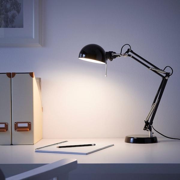 FORSÅ ฟอร์ชอัว โคมไฟโต๊ะทำงาน, ดำ