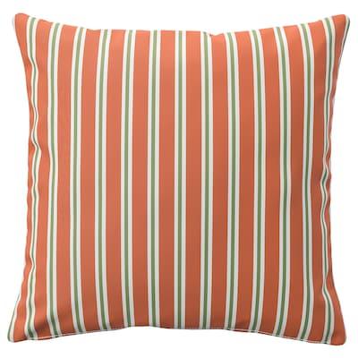 FUNKÖN ฟุนเคิน ปลอกหมอนอิง ในร่ม/กลางแจ้ง, สีส้ม ลายทาง, 50x50 ซม.