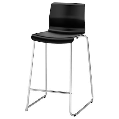 GLENN เกลนน์ เก้าอี้บาร์, ดำ/ชุบโครเมียม, 66 ซม.